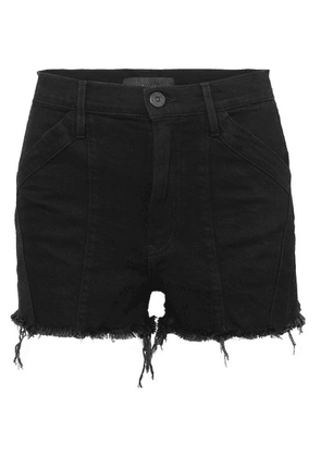 3x1 - + Jason Wu Paneled Frayed Denim Shorts - Black
