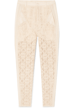 Philosophy di Lorenzo Serafini - Gauze-trimmed Cotton-blend Lace Straight-leg Pants - Ivory