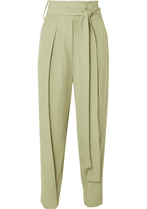 Petar Petrov - Hallet Belted Woven Straight-leg Pants - Light green