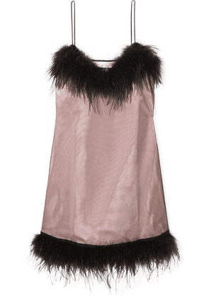 McQ Alexander McQueen - Feather-embellished Mesh And Crepe Mini Dress - Black