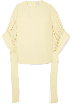 JW Anderson - Tie-detailed Ruched Crepe Blouse - Neutral