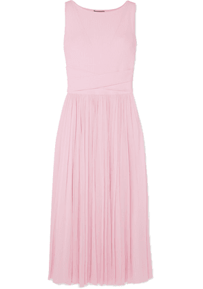 Alexander McQueen - Ribbed-knit And Chiffon Midi Dress - Pink