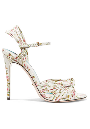 Gucci - Knotted Floral-print Leather Sandals - White