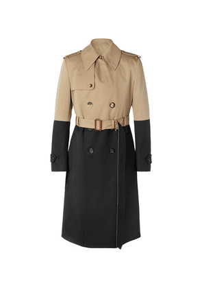 Alexander McQueen - Colour-block Cotton-gabardine And Wool Trench Coat - Beige