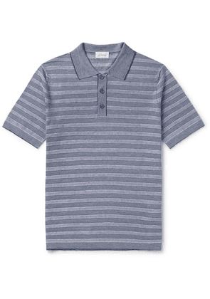 Brioni - Slim-fit Striped Knitted Linen And Silk-blend Polo Shirt - Blue