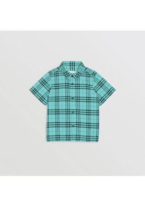 Burberry Childrens Short-sleeve Check Cotton Shirt, Size: 4Y, Green