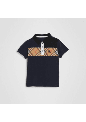 Burberry Childrens Vintage Check Panel Cotton Polo Shirt, Size: 8Y