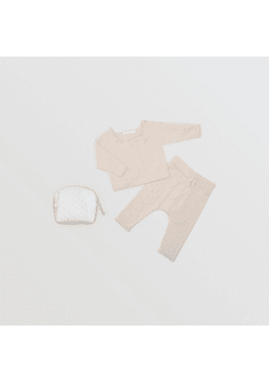 Burberry Childrens Bobble Knit Cotton Two-piece Baby Gift Set, Size: 9M, Beige