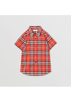 Burberry Childrens Short-sleeve Check Cotton Shirt, Size: 12Y, Red