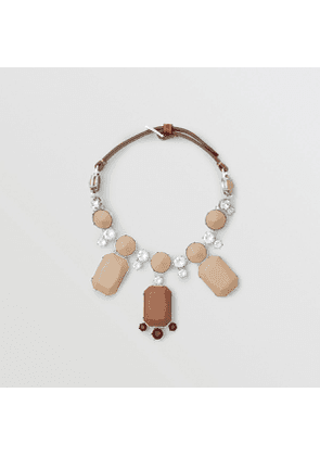 Burberry Glass, Crystal and Leather Drop Necklace, Brown