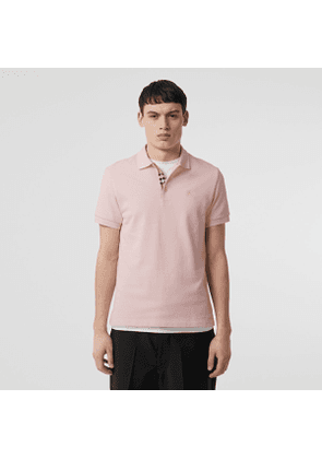 Burberry Check Placket Cotton Polo Shirt, Size: M, Pink