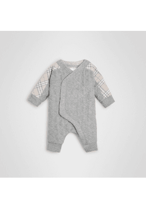 Burberry Childrens Check Detail Cotton Diamond Quilted Jumpsuit, Size: 9M, Grey