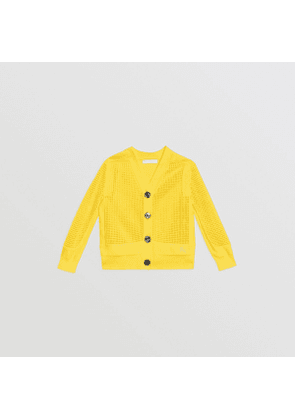 Burberry Childrens Open Knit Cotton V-neck Cardigan, Size: 6Y, Yellow