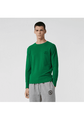 Burberry Embroidered Archive Logo Cashmere Sweater, Size: XS, Green