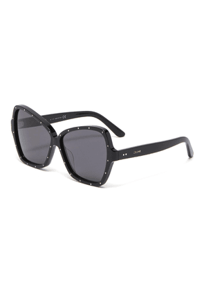 Strass embellished oversized acetate butterfly sunglasses