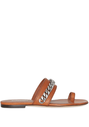 Burberry Chain Detail Leather Sandals - Brown