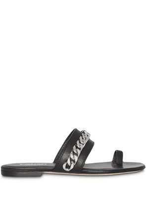 Burberry Chain Detail Leather Sandals - Black