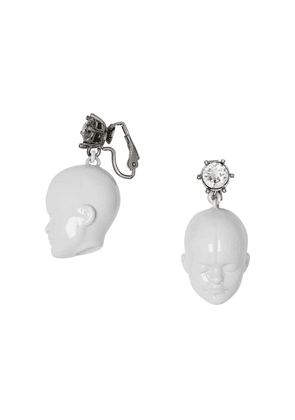 Burberry Crystal and Doll's Head Palladium-plated Earrings - White