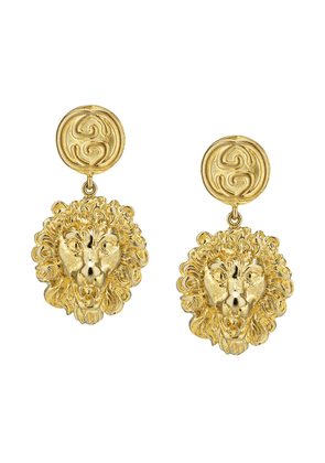 Gucci lion motif drop earrings - Gold