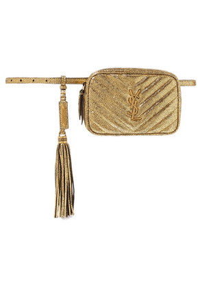 Saint Laurent - Lou Quilted Metallic Cracked-leather Belt Bag - Gold
