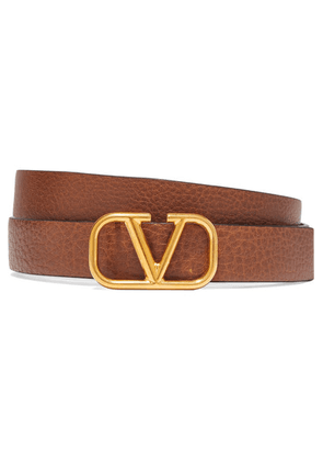 Valentino - Valentino Garavani Textured-leather Belt - Tan