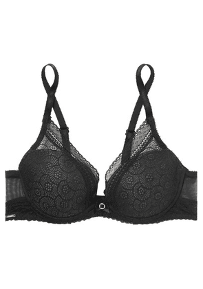 Chantelle - Stretch-lace And Tulle Underwired Plunge Bra - Black