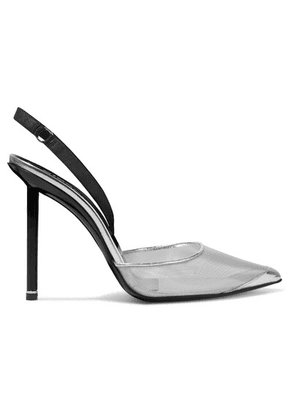 Alexander Wang - Alix Metallic Mesh And Leather Slingback Pumps - Silver