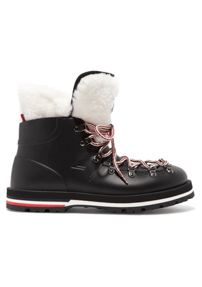 Moncler - Inaya Shearling-trimmed Rubber Ankle Boots - Black