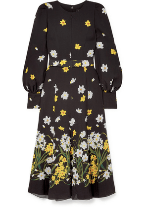 Andrew Gn - Belted Floral-print Silk Midi Dress - Black