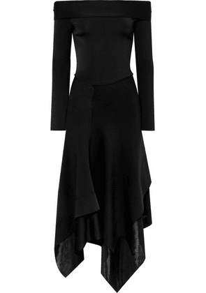 Victoria Beckham - Off-the-shoulder Asymmetric Stretch-knit Midi Dress - Black