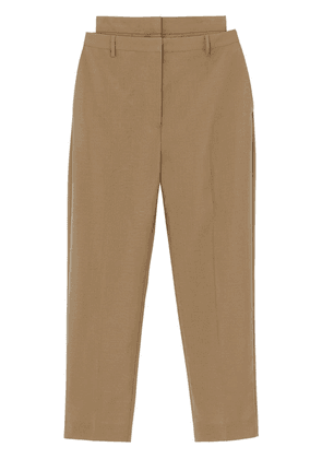 Burberry Double-waist Mohair Wool Trousers - Brown