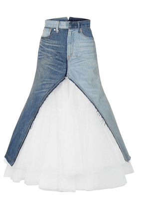 Junya Watanabe - Paneled Denim And Tulle Maxi Skirt - Blue