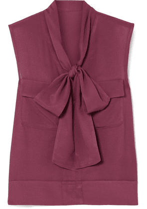 Golden Goose Deluxe Brand - Margherita Pussy-bow Twill Top - Plum