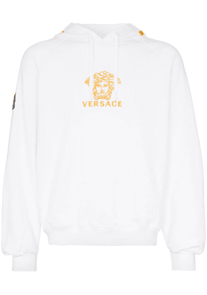 Versace logo embroidered hooded cotton jumper - White