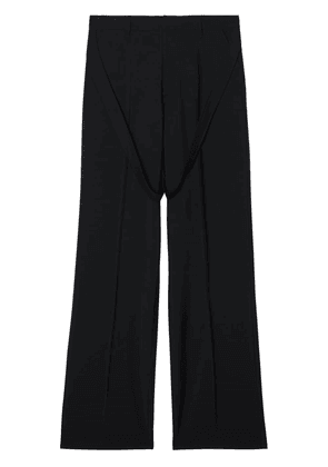 Burberry Strap Detail Wool Mohair Tailored Trousers - Black