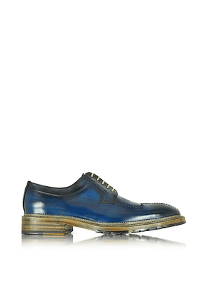 Italian Handcrafted Blue and Gray Washed Leather Derby Shoe
