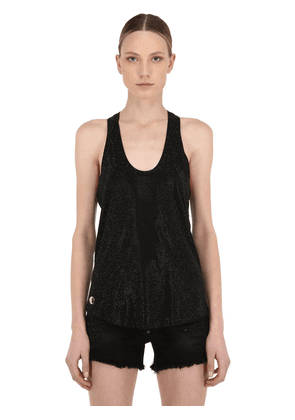 Embellished Cotton Jersey Tank Top