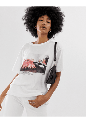 Weekday oversized t-shirt with graphic Flamigno print in white
