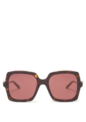Cartier Eyewear - Panthère Square Tortoisehell Acetate Sunglasses - Womens - Red Multi