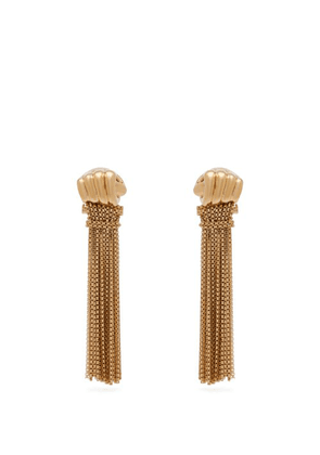Bottega Veneta - Fist And Tassel Gold Plated Drop Earrings - Womens - Gold