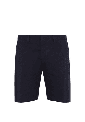 Ami - Straight Leg Cotton Twill Bermuda Shorts - Mens - Blue