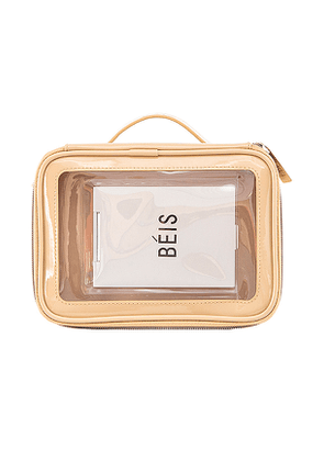 BEIS The Carry On Cosmetic Case in Beige.