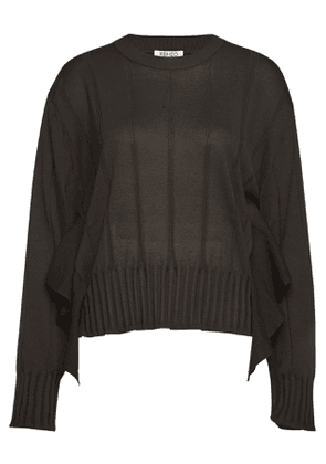 Kenzo Cotton-Silk Ruffle Side Top