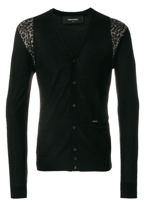 Dsquared2 leopard insert cardigan - Black