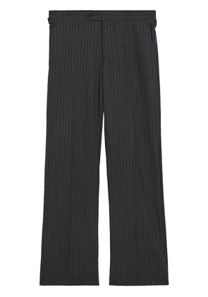 Burberry Classic Fit Pinstriped Wool Tailored Trousers - Grey