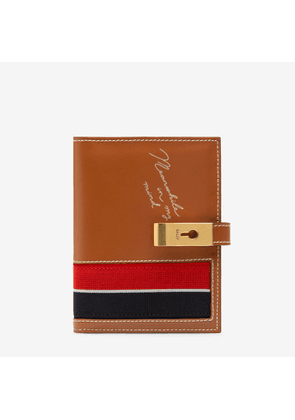 Bally April Brown, Women's calf leather and fabric wide wallet in tan