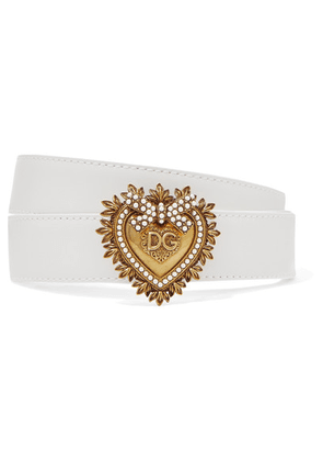 Dolce & Gabbana - Embellished Leather Belt - White