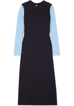 Marni - Two-tone Crepe And Crepe De Chine Maxi Dress - Navy