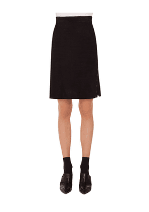A-Line Suede Leather Knee-Length Skirt w/ Eyelet Detail