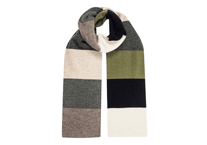 Grey, White and Green Wool Stripe Scarf